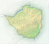 Zimbabwe, shaded relief map.