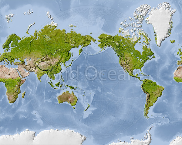 World Mercator map, shaded relief, centered on the Pacific