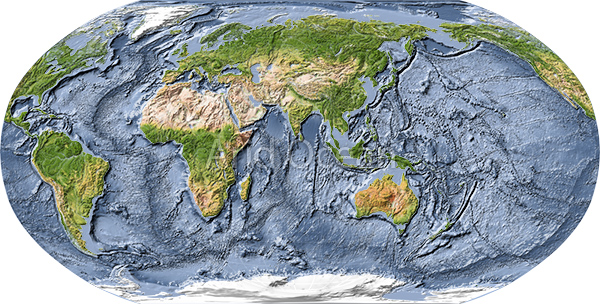 World map shaded relief centered on india gumiabroncs Image collections