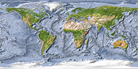World map, shaded relief with ocean floor