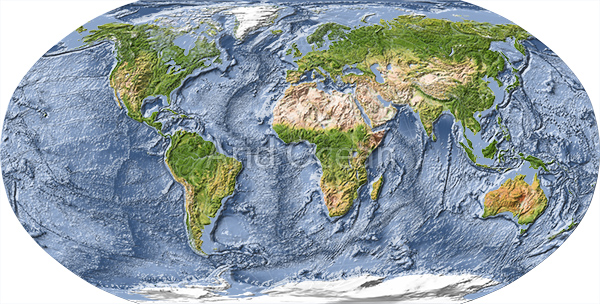 World map, shaded relief with ocean floor.