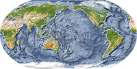 World map, shaded relief with ocean floor, centered on the Pacific.